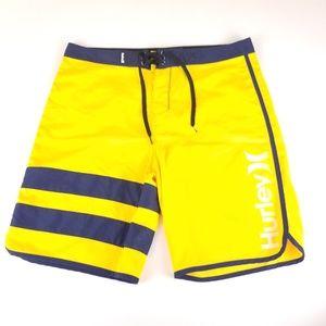 Hurley Yellow & Navy Blue Board Shorts